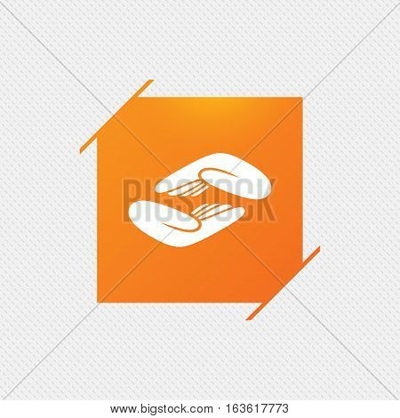 Helping hands sign icon. Charity or endowment symbol. Human palm. Orange square label on pattern. Vector