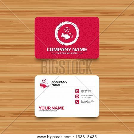 Business card template with texture. Tick handshake sign icon. Successful business with check mark symbol. Phone, web and location icons. Visiting card  Vector