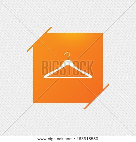 Hanger sign icon. Cloakroom symbol. Orange square label on pattern. Vector