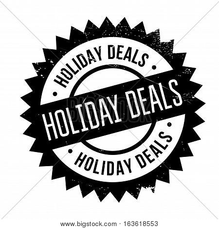 Holiday Deals stamp. Grunge design with dust scratches. Effects can be easily removed for a clean, crisp look. Color is easily changed.