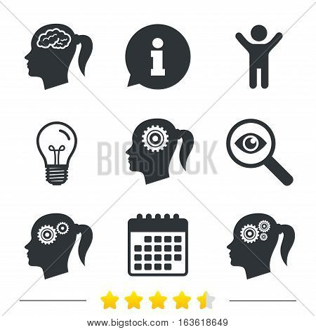 Head with brain icon. Female woman think symbols. Cogwheel gears signs. Information, light bulb and calendar icons. Investigate magnifier. Vector