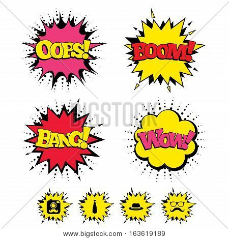 Comic Boom, Wow, Oops sound effects. Hipster photo camera with mustache icon. Glasses and tie symbols. Classic hat headdress sign. Speech bubbles in pop art. Vector