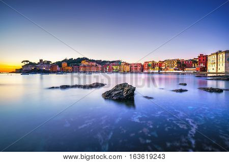 Sestri Levante silence bay or Baia del Silenzio rocks sea and beach view on sunset. Liguria Italy.