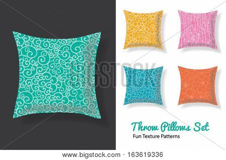 Premium Set Of Throw Pillows In Matching Unique Natural Doodle Seamless Patterns. Square Shape. Editable Vector Template. Surface Pattern Textile Design.