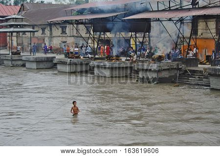 Boy Baths In The River Bagmati At The Pashupatinath Temple