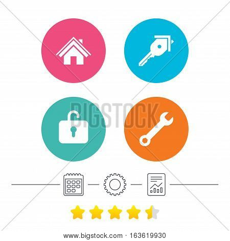 Home key icon. Wrench service tool symbol. Locker sign. Main page web navigation. Calendar, cogwheel and report linear icons. Star vote ranking. Vector