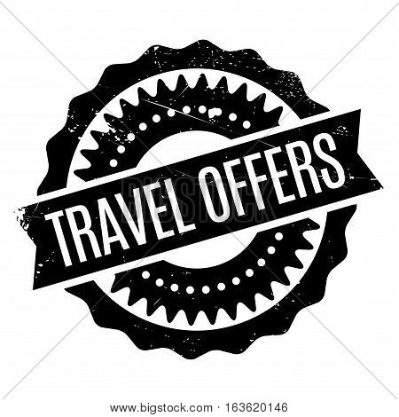 Travel Offers stamp. Grunge design with dust scratches. Effects can be easily removed for a clean, crisp look. Color is easily changed.