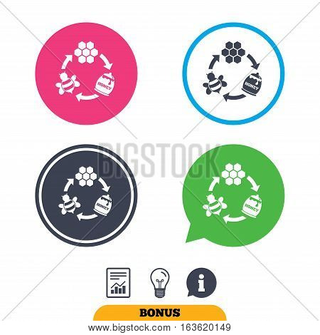 Producing honey and beeswax sign icon. Honeycomb cells symbol. Honey in pot. Sweet natural food cycle in nature. Report document, information sign and light bulb icons. Vector