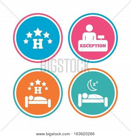Five stars hotel icons. Travel rest place symbols. Human sleep in bed sign. Hotel check-in registration or reception. Colored circle buttons. Vector