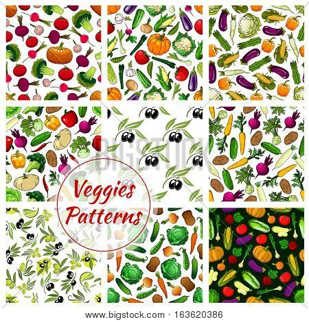 Veggies patterns. Fresh vegetables of cauliflower, garlic, potato, corn, olive, cabbage, pumpkin, tomato, pepper, broccoli and eggplant, carrot with squash and daikon radish. Vector seamless background of farm harvest