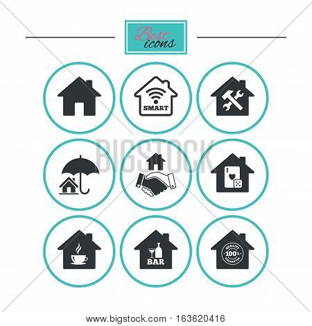 Real estate icons. House insurance, broker and casino with bar signs. Handshake deal, coffee and smart house symbols. Round flat buttons with icons. Vector