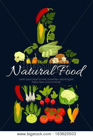 Vegetables, veggies and greens in shape of cutting board with cauliflower, kohlrabi and broccoli cabbage, corn with potato, beet, carrot and radish, parsley, broccoli, pea and pepper, cucumber and tomato. Vector poster