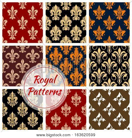 Royal patterns set of heraldic fleur-de-lis lily. Flowery ornate seamless background. Vector heraldic fleur-de-lys ornament tile. Flourish embellishment backdrop and ornamental tracery design