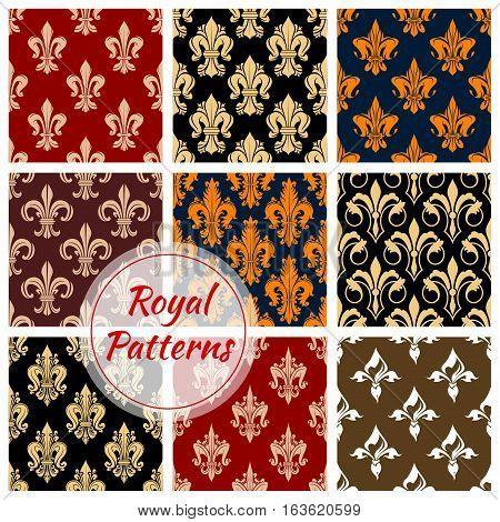 Royal patterns set of heraldic fleur-de-lis lily. Flowery ornate seamless background. Vector heraldic fleur-de-lys ornament tile. Flourish embellishment backdrop and ornamental tracery design