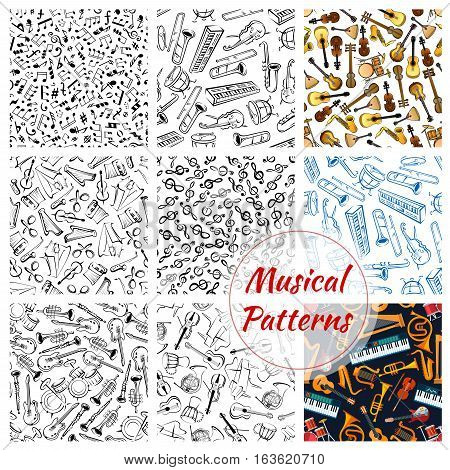 Musical instruments seamless patterns. Sketch clef music notes stave with harp, trumpet, guitar and violin, contrabass and piano, maracas, saxophone, cymbals on jembe drums, russian balalaika. Vector background