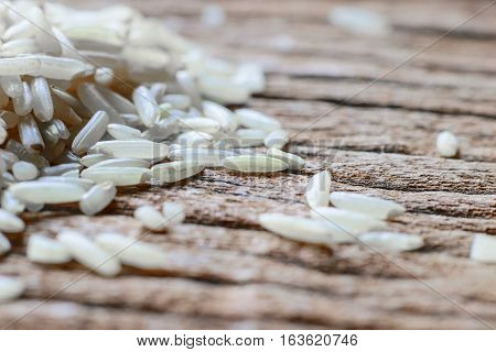 Closeup view of few white rice grains.