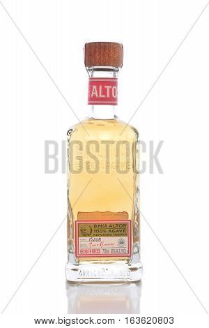 IRVINE CALIFORNIA - JANUARY 1 2017: Olmeca Altos Tequila. A 750ml bottle of the 100% Agave Tahona Stone Crushed Tequila from Mexico.