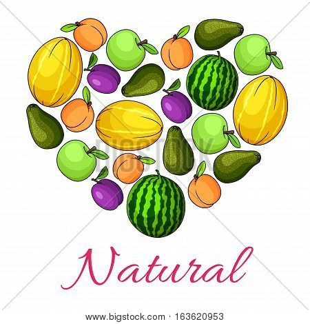 Fruit heart symbol or poster combined of vector natural fresh organic fruits juicy melon and watermelon, garden apple, pear and tropical exotic avocado, plum, apricot or peach. Ripe farm fruits harvest