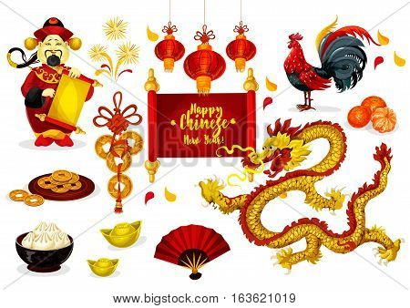Chinese New Year greeting poster. Traditional red lantern, coins, zodiac rooster, god of prosperity, mandarin fruit, firework, fan, dumpling and golden ingot. Chinese Spring Festival holiday design