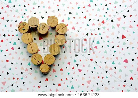 A Heart Made of Varying Sized Corks