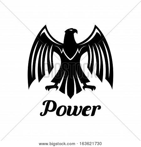Eagle isolated vector emblem. Heraldic gothic falcon predatory bird symbol or icon with open spread wings and sharp clutches. Hawk sign for sport team mascot, shield emblem, army, military, security coat of arms