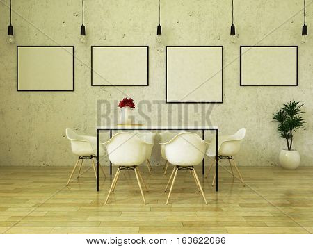 3d render of beautiful  dining table with white chairs on wooden floor in front of a concrete wall with picture frames and suspended lights