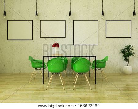 3d render of beautiful dining table with green chairs on wooden floor in front of a concrete wall with picture frames and suspended lights