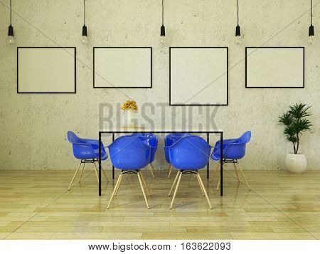 3d render of beautiful  dining table with blue chairs on wooden floor in front of a concrete wall with picture frames and suspended lights
