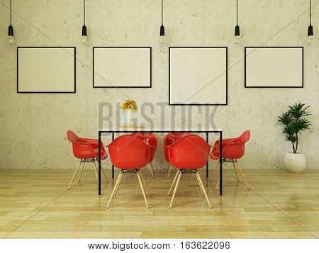 3d render of beautiful dining table with red chairs on wooden floor in front of a concrete wall with picture frames and suspended lights