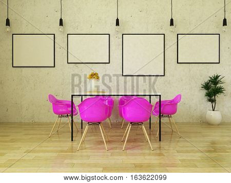 3d render of beautiful dining table with pink chairs on wooden floor in front of a concrete wall with picture frames and suspended lights