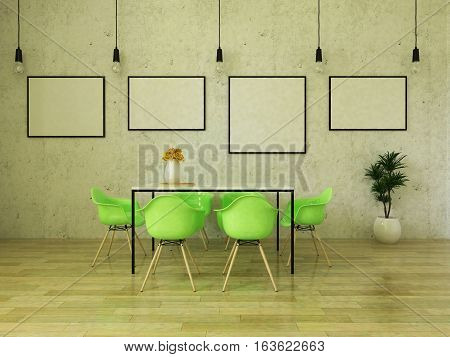 3D render of beautiful dining table with bright green chairs on wooden floor in front of a concrete wall with picture frames and suspended lights