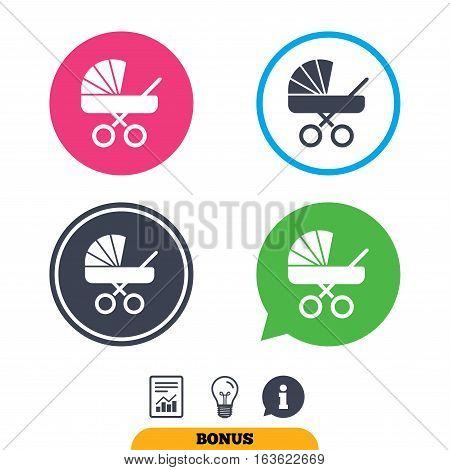 Baby pram stroller sign icon. Baby buggy. Baby carriage symbol. Report document, information sign and light bulb icons. Vector