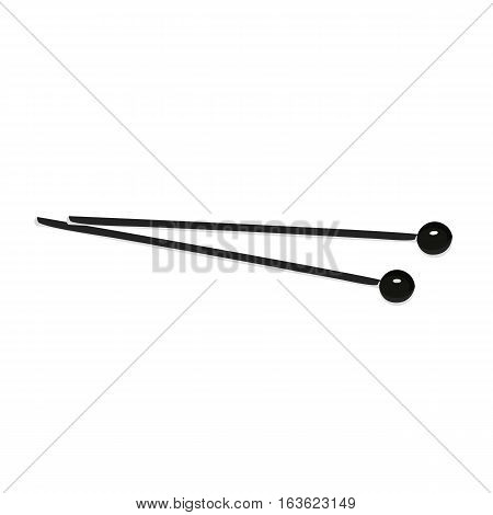 The sticks for xylophone. Black and white vector illustration.