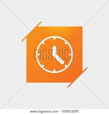 Clock sign icon. Mechanical clock symbol. Orange square label on pattern. Vector