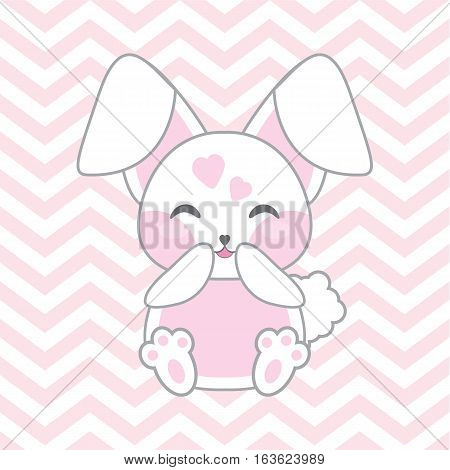 Baby shower illustration with cute pink rabbit on chevron background suitable for baby shower invitation card, postcard, and nursery wall
