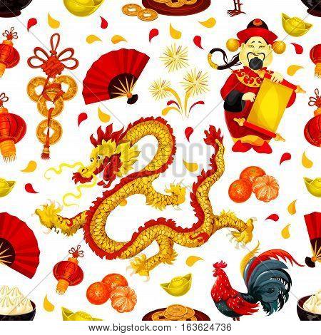 Chinese New Year symbols seamless pattern with red rooster, lantern, golden coin, dragon, god of prosperity, mandarin fruit, firework, gold ingot, fan, dumpling. Chinese New Year holidays background