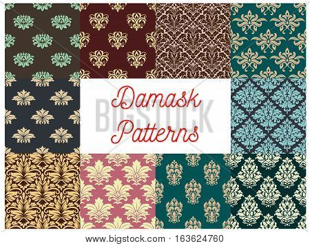 Damask patterns. Luxury flowery backdrops and ornate ornament tiles. Flourish baroque background with rococo design. Vector set of seamless floral embellishment and tracery motif