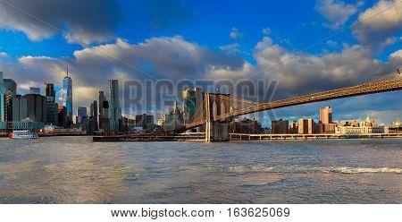 The Brooklyn Bridge And Manhattan Skyline From , New York.