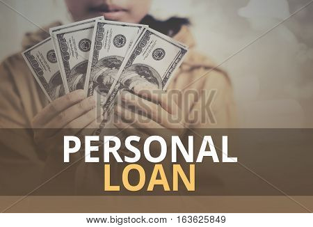 Personal Loan Word Over Young Girl Holding Dollar Bills.
