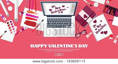 Valentines Day. Workplace with table. Design Equipment. Drawing on paper. Handmade love card. Typewriting. Greeting. February 14.