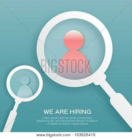 Choosing the talented person for hiring. HR job seeking concepts. The choice of the best suited employee. Find right person on blue background. Paper cut design Vector illustration