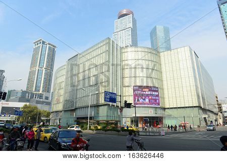 NANJING, CHINA - OCT. 28, 2015: Nanjing Xinjiekou CBD at Huaihai Road in downtown Nanjing, Jiangsu Province, China.