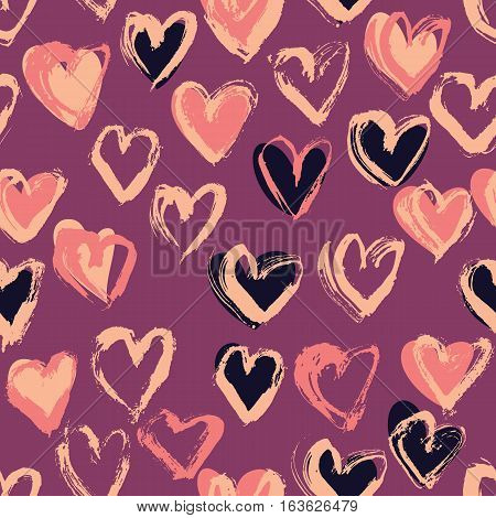 Abstract seamless heart pattern. Ink illustration. Nude and pink romantic background.
