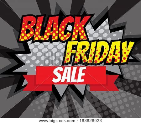 Abstract Black Friday Sale Advertise Pop art Comic Book Background Vector Illustration