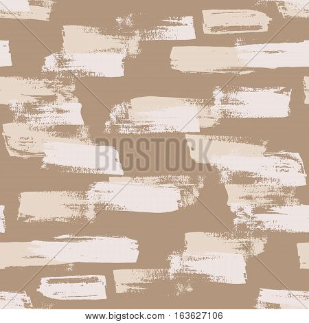 Seamless nude vector handmade abstract brush strokes background. Ink grunge pattern.