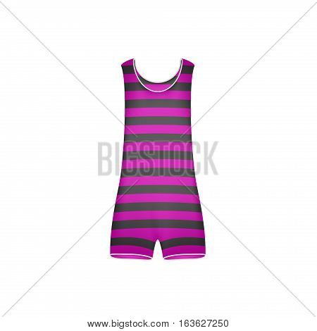 Striped retro swimsuit in purple and black design on white background