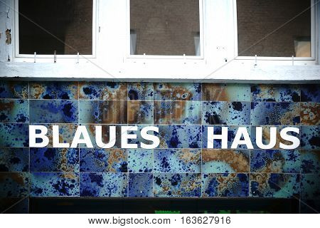 COLOGNE, GERMANY - NOVEMBER 24: The ruin of the abandoned theater the Blue House the smallest puppet theater on November 24, 2016 in Cologne.