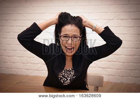 Sadly disappointed headaches of hard work. Businensswomen