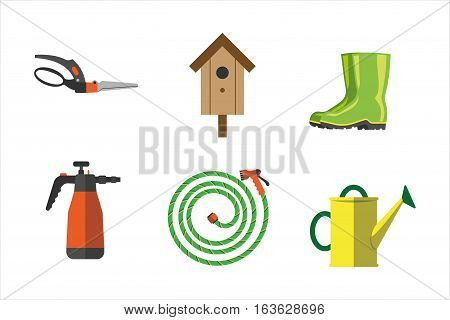 Set of agriculture farming tools on white. Spring garden equipment flat set. Vector watering green plants graphic nesting box element. Taking care of nature.