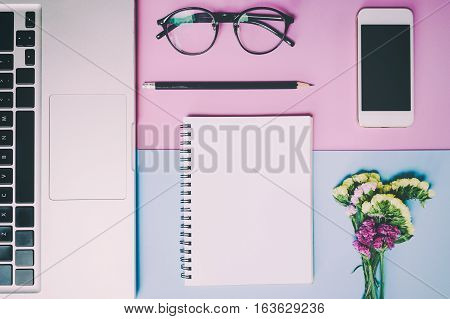 Flat lay, top view office table desk. feminine desk workspace with succulent, laptop, glasses, diary on pink and blue background. poster